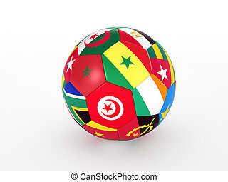 3d rendering of a soccer ball with flags of the African countries