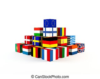 3D rendering of a stack of boxes with the members of the European Union flags