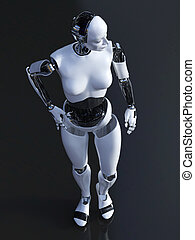 3D rendering of a standing female robot.