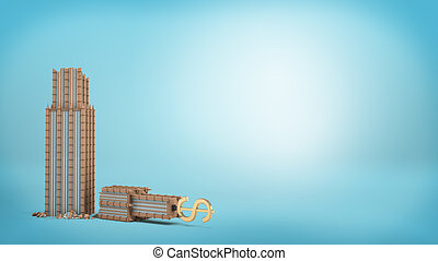 3d rendering of a tall business building with a golden dollar sign on the top stands broken in half on blue background.
