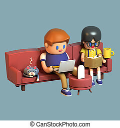 3d rendering of a teenage couple sitting together on a couch