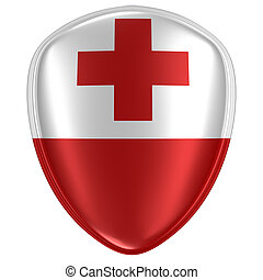 3d rendering of a Tonga flag icon.