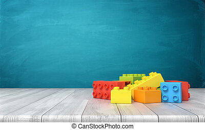 3d rendering of a toy building blocks lying in a colorful pile over a wooden desk on a blue background.