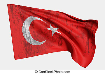 3d rendering of a Turkey flag