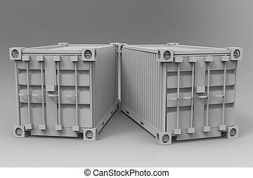 3d rendering of a two shipping cargo containers