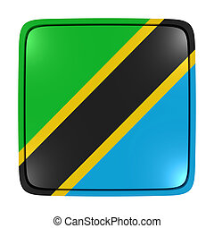 3d rendering of a United Republic of Tanzania flag icon. Isolated on white background.