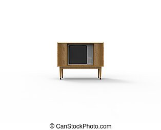 3d rendering of a vintage retro television tv isolated on white background.