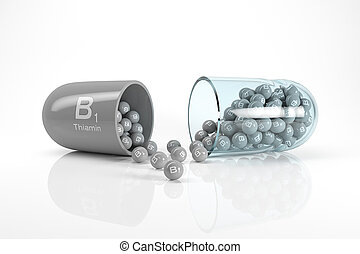3d rendering of a vitamin capsule with vitamin B1 - thiamin ...