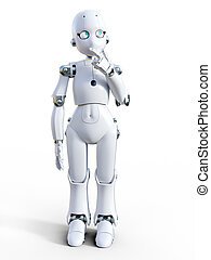 3D rendering of a white cartoon robot thinking about something.