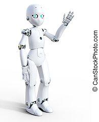 3D rendering of a white cartoon robot waving hello.
