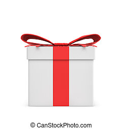 3d rendering of a white gift box tied with a red bow on white background.