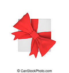 3d rendering of a white gift box tied with a red bow on white background in top view