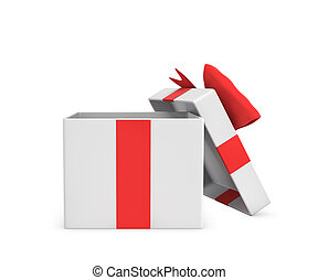 3d rendering of a white open gift box tied with a red bow on white background.