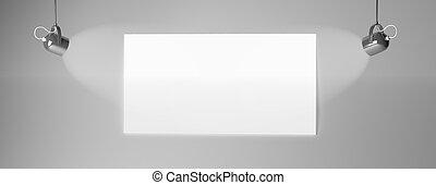 3d rendering of a white paper on a dark wall with two spot lights