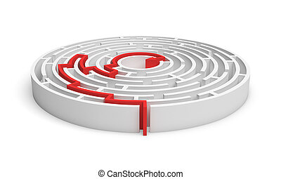 3d rendering of a white round maze with a red arrowed line showing the way out.