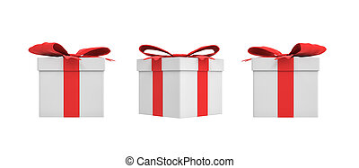 3d rendering of a white square gift box with a red ribbon bow in three different side views.