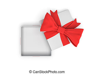 3d rendering of a white square opened gift box with a red bow on white background as seen from above.