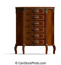 3D rendering of a wooden commode with drawers of Louis XV. with clipping path and shadow over white