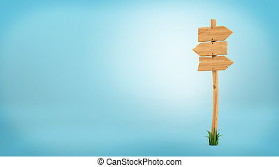 3d rendering of a wooden pole with some grass on it's base and three blank arrows on the top.