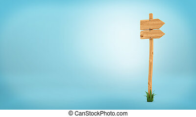 3d rendering of a wooden pole with some grass on it's base and two blank arrows on the top.