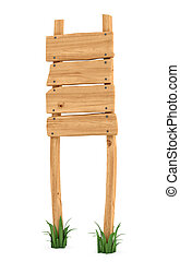 3d rendering of a wooden post with four square boards for information.