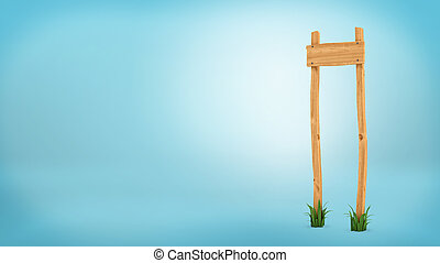 3d rendering of a wooden post with square board for information.
