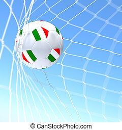 3d rendering of a XXXXX flag on soccer ball in a net