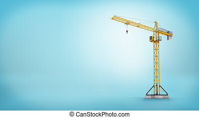 3d rendering of a yellow stationary tower crane without any load in full length on blue background.