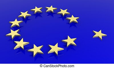 3D rendering of abstract European Union flag and golden stars with one out