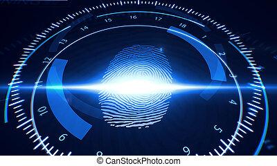 Abstract Fingerprint Scanning. Technology Concept.