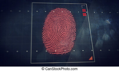 Abstract technology background. Security system concept with fingerprint scanning.