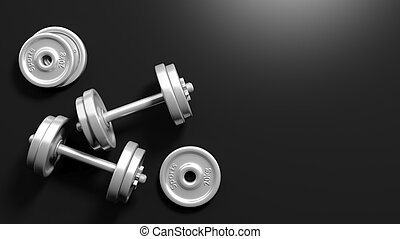 3D rendering of adjustable metallic dumbbells, on black background with copy-space