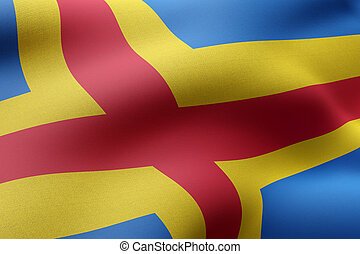 Aland Islands flag waving