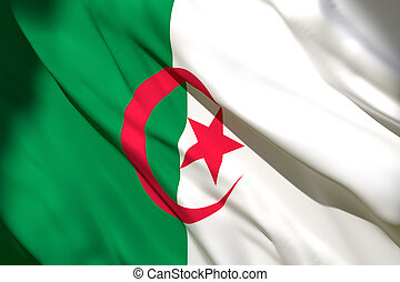 3d rendering of Algeria flag