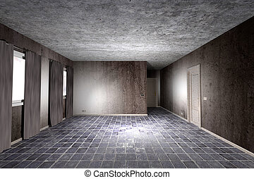 dirty room - 3d rendering of an abandoned and dirty room