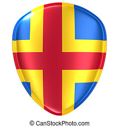 3d rendering of an Aland Islands flag icon.