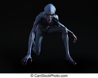 3D rendering of an alien creature crouching. - Portrait of...