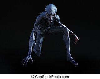 3D rendering of an alien creature crouching. - Portrait of...