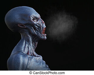 Portrait of an alien creature yelling and smoke coming out from its mouth, 3D rendering. Black background.