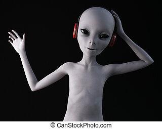 3D rendering of an alien wearing headphones. - An alien from...