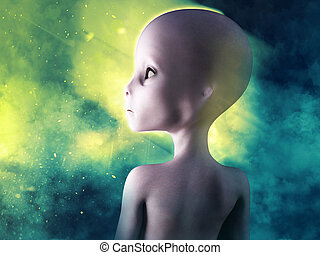 3D rendering of an alien with smoke in the background.