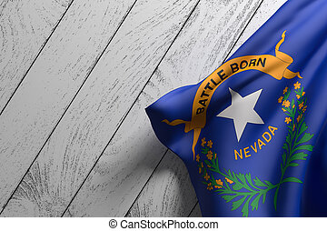 3d rendering of an American Nevada State flag on a wooden surface