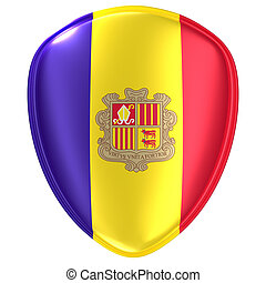 3d rendering of an Andorra flag icon.
