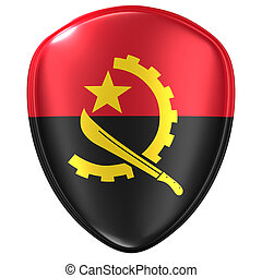 3d rendering of an Angola flag icon.