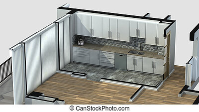 3D Rendering of an apartment kitchen