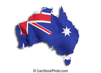 3d rendering of an Australia map and flag