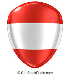 3d rendering of an Austria flag icon.