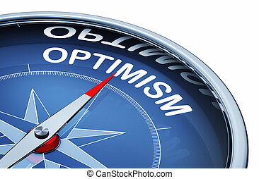 optimism - 3D rendering of an compass with the word optimism