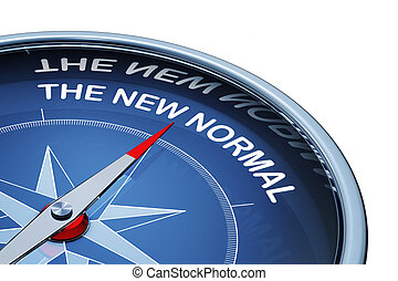 3D rendering of an compass with the words the new normal