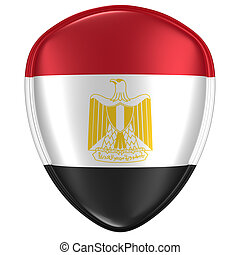 3d rendering of an Egypt flag icon.